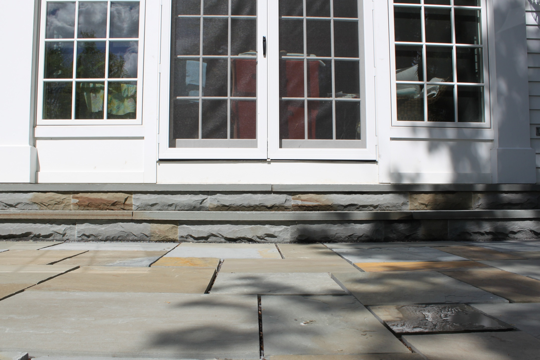 This Is An Example Of A Large Walkout Patio Built With Pattern Bluestone  And Bluestone Step Installation. Please Note: In These Pictures The Patio  Had Yet ...